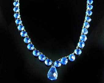Art Deco Necklace Festoon blue Drops open back CHOKER September Birthstone vintage jewelry