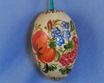 Vintage Wooden Easter Egg // Hand Painted // Solid Wood // Folk Art // Adornment // Lovely // Showy // Easter Jewel // Not Just for Easter!