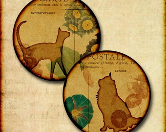 Cat and Flower Digital Download Images 1 Inch, 1.25 Inch and 1.5 Inch Round Circle Help rescued cats