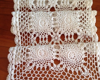 Vintage White Cotton Crochet Table Runner - Granny Chic, Cottage Chic