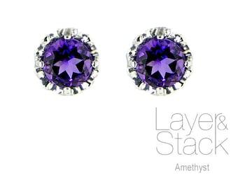 Layer & Stack Amethyst Sterling Silver Stud Earrings