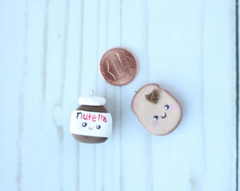 Polymear Clay Nutella and bread cute BFF friendship necklace