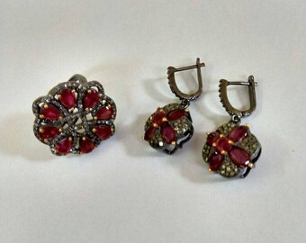 925 Sterling silver diamond & Black-Rhodium Ring Earring Sets Free Shipping
