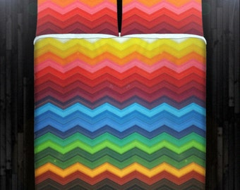 Colorful Rainbow Chevron Bedding Duvet Cover Queen Comforter King Twin XL Size Blanket Sheet Set Baby Crib Toddler Daybed Kids Bed