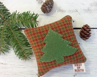 Pine Tree Pillow, Cabin Pillow, Cabin Decor, Woodland Decor, Balsam Pillow, Tree Pillow, Plaid Pillow, Lodge Decor, Little Pillow,