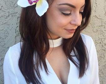 White Orchid Flower Hair Clip - White or Pink Purple Orchid - Tropical Flowers - Hair Accessories - Wedding - Bridal