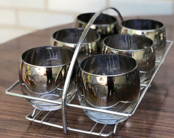 Vintage silver ombre roly poly glasses - Set of 6 and silver holder - mid century barware - Vitreon Queen's Lustreware - Mercury Fade