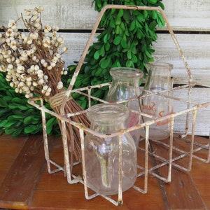 Antique Vintage Wire Milk Carrier With Bottles - Chippy Farmhouse Basket -Metal Milk Bottle Caddy - Rustic industrial