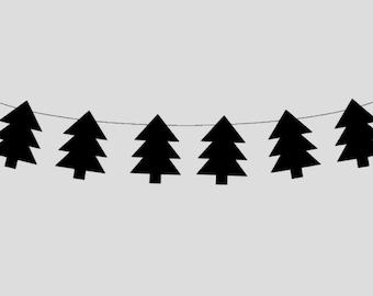 Woodland Banner, Woodland Garland, Black Tree Banner, Black Tree Garland, Woodland Nursery, Woodland Decor, Woodland Baby Shower (11517820P)