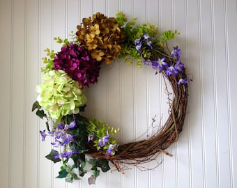 Purple Spring Wreath, Spring Wreath, Front Door Wreath, Hydrangea Wreath, WREATH, Spring Door Wreath