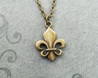 Fleur-De-Lis Necklace SMALL Bronze Fleur De Lis Jewelry Medieval Necklace French Royalty Pendant French Necklace Fleur De Lys Charm Necklace
