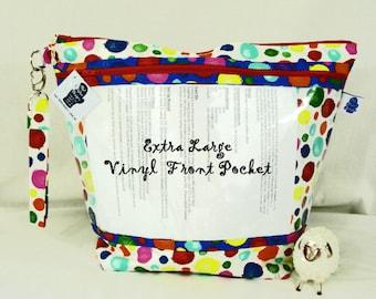 Lottsa Yarn Knitting Project Bag, Zippered Project Bag, Wedge Bag, Vinyl Front, Vinyl Window,  Yarn Tote Bag, Yarn Bag, knitting bag
