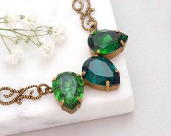 Forest Green Necklace, Green Crystal Necklace Swarovski Crystal Jewelry Brass Filigree Necklace Nickel Free Green Rhinestone Necklace Gamila