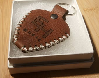 Medium Brown - Deluxe Genuine Leather Guitar Pick Holder Keychain, Personalized, Laser Engraved