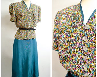 1930s 40s Printed rayon teal green ruched blouse & pleated skirt suit / 1940s 30s pink blue orange puff sleeve a line skirt day set - L