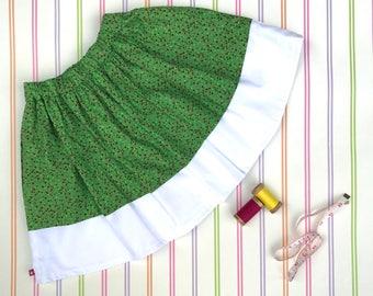 Girls green skirt, Christmas skirt, girls party skirt, cotton skirt, girls skirt, birthday gift, gift for kids, spotty skirt, lined skirt