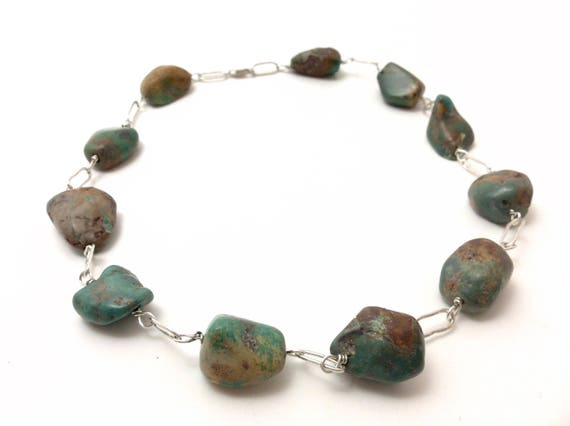 Chunky turquoise and silver choker style necklace