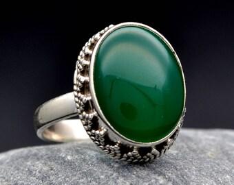 Green Chalcedony Ring  Gemstone  925  Sterling Silver Handmade