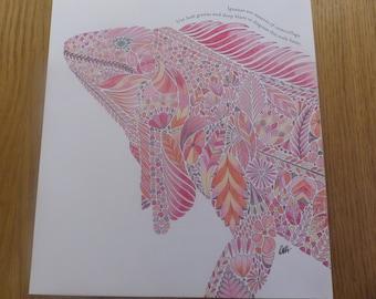 Iguana in the Pink coloured by Annie (Millie Marotta)