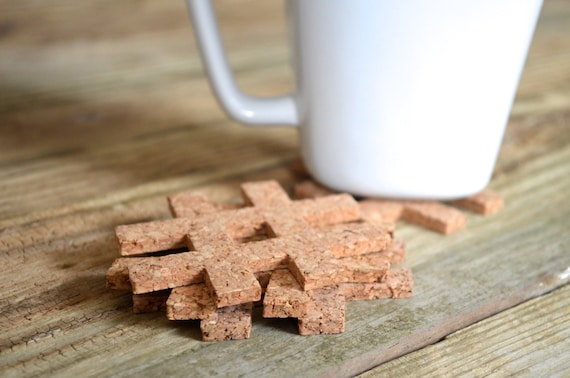 "Hashtag Cork Coaster - set of 4 ""#"" symbol coasters"