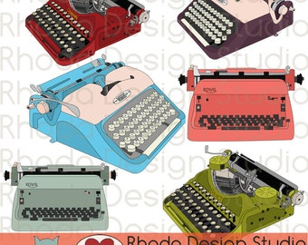 Vintage Typewriters Digital Clip Art Retro Corona, Royal, Voss