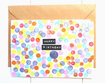 Birthday card with colourful dots, handstamped birthday card, confetti