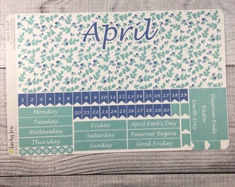 APRIL Monthly View Sticker Kit for ECLP - Sunday or Monday start