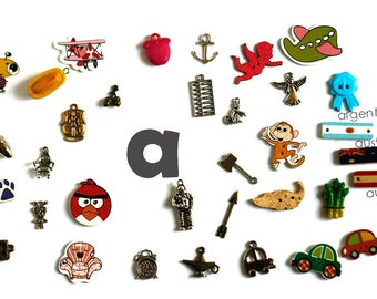 Individual trinkets by letter for I spy bag/ bottle, Small alphabet miniatures, Language objects, Alphabet objects, 1-3cm, 5 objects