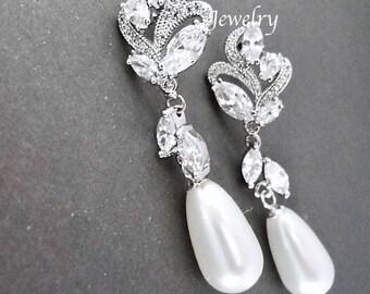 Pearl earrings, Marquise cut cubic zirconias, Brides earrings, Wedding earrings, Swarovski pearl earrings, High quality ~ Lux, LILLY