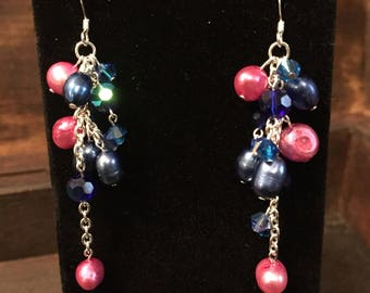 Midnight blue and Plum pearl cluster earrings with Swarovski Crystal and Glass beads