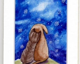 """Hand-Painted Greetings Card  (original - not a print!) """"Snowflakes"""""""