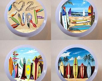 Set of 4 Love to Surf Ceramic Knobs Drawer or Cabinet Pulls Surfer