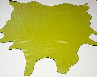 Leather cow hide key lime pie green av. 48sqft upholstery auto cowhides ts-003