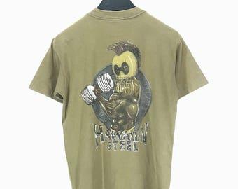 Rare Vintage 90s 80s Hawaiian Steel Surf Beach Skate T Shirt