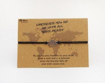 Compass Wish Bracelet // Bon Voyage Gift • Graduation • Travel • Gap Year • Wanderlust • World Map • Compass Bracelet • Adventure