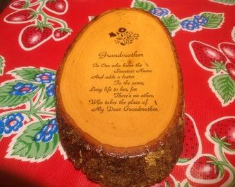Vintage log slice wall plaque- Grandmother
