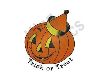 Trick Or Treat - Machine Embroidery Design, Halloween, Jack-O-Lantern, Pumpkin