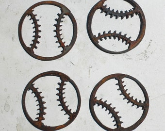 Lot Set of 4 Rusty 3 inch Baseball Shapes Vintage Antique Metal Art Ornament Craft Stencil Sign