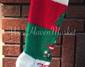 Vintage Candide Old Fashioned Christmas Stocking - Hand Knit & Personalized - 100% Pure Wool