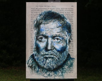 Ernest Hemingway Oil Painting with Text from For Whom the Bell Tolls
