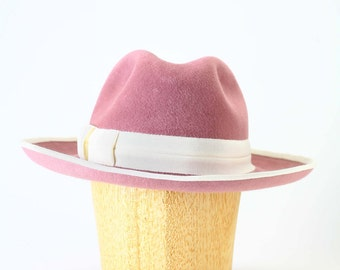 Dusty Rose Pink Mauve Wide Brim Velour Fur Felt Fedora Winter Hat with Ivory grosgrain piping and band - Womens Hat/Couture Hat/Millinery