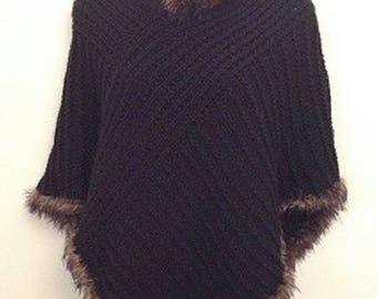 Knitting kit for fur edged poncho