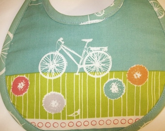 Organic Baby Bib - Bicycle - Commute - Blue - Birdie - Bike Spokes - Can be Personalized with a Name