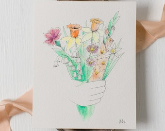 Custom Birthday Flowers Bouquet Painting