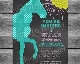 Equestrian Horse Birthday Invitation Card - Aqua Chalkboard Sign Cards - Customizable