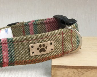 Tweed Dog Collar, Girl Dog Collar, Adjustable Dog Collar, Dog Accessory, Handmade Dog Collar, Country Chic Dog, Gift for dog owner