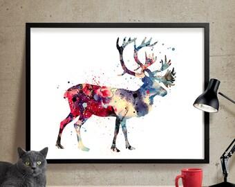Deer Print, Watercolor Painting, Reindeer Animal Art, Deer Watercolor Art, Decor Wall Art, Deer Art, Watercolor Animal, Deer Poster (107)