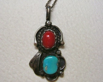 old turquoise and coral sterling pendant necklace