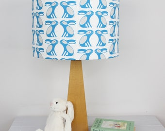STUDIO SALE Swedish Blue Bunny Pattern Drum lampshade Light Shade