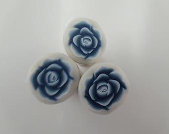 Blue Rose Polymer Clay Cane, Raw polymer Clay Cane, Millefiori